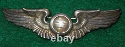 WWII US Army Air Force THICK STERLING Observer Wings 3 Pin Back