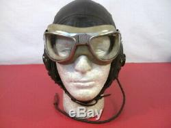 WWII US Army Air Force Type A-11 Leather Flying Helmet Wired withGoggles 1944 LG