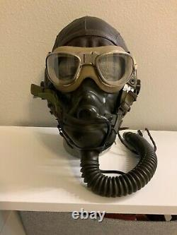 WWII US Army Air Force Type A-11 Leather Flying Helmet Wired withGoggles & O2 Mask
