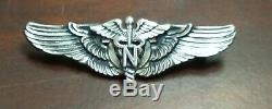 WWII US Army Air Force USAAF Flight Nurse Wings Pin-Back Meyer 2 inch Sterling