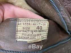 WWII US Army Air Forces Leather Cold Weather Flight Suit Coveralls