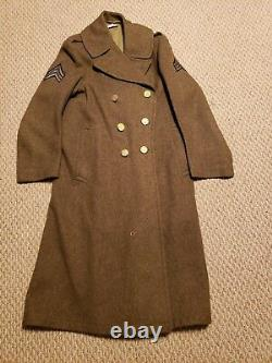 WWII U. S. Army Air Force Sergeant Military Officer's Long Wool Olive Jacket Coat