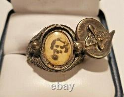 WWII WW2 Era Army Air Corp Insignia Sterling Silver Sweetheart Photo Locket Ring