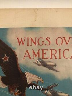 WWII WW2 Original War Poster Wings Over America US Army Air Corps Recruiting