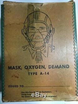 WW 2 Oxygen Mask Demand A-14 Vintage Pilots Helmet Goggles Air Force Army Flying