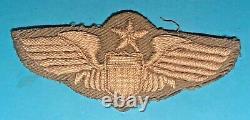 WW 2, US Army Air Corps Senior Pilot Wing, CBI Made, HE on Khaki, Exc Cond, #1