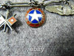 WW II Army Air Forces Sterling Silver Sweetheart Charm Bracelet With 11 Charms