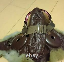 World war 2 wwII imperial japanese army Air Force leather flight helmet & goggle