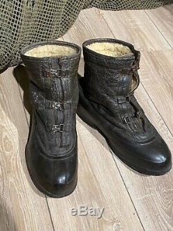 Ww2 Us Army Air Force Early Winter Flying Boots A-6 Rare