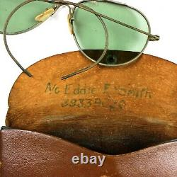 Ww2 Us Army Air Forces Corps Usaaf An-6531 Sunglasses Identified Leather Case