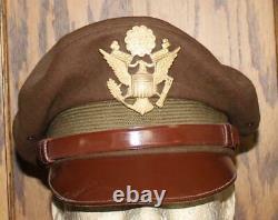 Ww II Us Army Air Force Officer's Fur Felt Wool Crusher Hat Cap Vintage Original