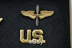 Wwii U. S. Army Air Corps Officers U. S. & Wing & Prop Lapel Set In Original Box