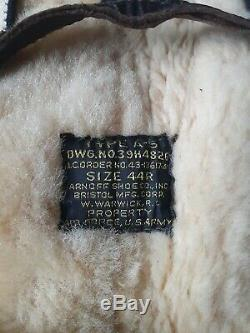 Wwii Us Army Air Forces Shearling Leather Type A-5 Flying Trousers Sz 44r Usaaf