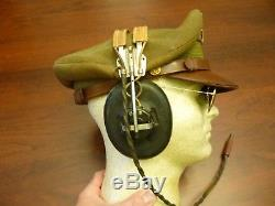 Wwii Us Officer Visor Cap Crusher Aviation Army Air Force Hb-7 Headphones